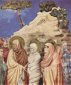 GIOTTO di Bondone No. 25 Scenes from the Life of Christ: 9. Raising of Lazarus (detail) 1304-06 Fresco Cappella Scrovegni (Arena Chapel), Padua.