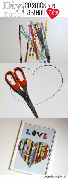 Diy : Un tableau plein d'amour par petits-canaillous.fr Diy For Kids, Crafts For Kids, Paper Crafts, Diy Crafts, Mothers Day Crafts, Heart For Kids, Simple Art, Activities For Kids, Crafty