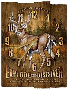American Expedition Whitetail Deer Wooden Wall Clock  #American #Clock #Deer #Expedition #RusticWallClock #Wall #Whitetail #Wooden The Rustic Clock
