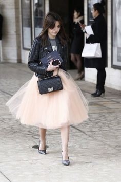 tulle skirt + leather