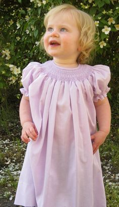 Girl's Hand Smocked Bishop Dress by BarleySews on Etsy, $60.00