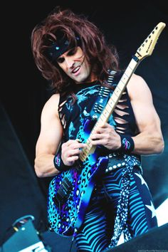 Satchel Page playing his leopard Kramer - Steel Panther He's Beautiful, Gorgeous Men, Russ Parrish, Steel Panther, 80s Hair Bands, The Wedding Singer, Star Wars, Famous Musicians, Heavy Metal Bands