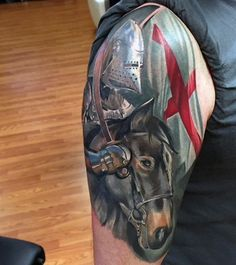 Mens Knights Templar Tattoos With Flag Boy Tattoos, Life Tattoos, Sleeve Tattoos, Tattoos For Guys, Star Tattoos, Good Knight, Knight Art, Templar Knight Tattoo, Tattoo Guerreiro