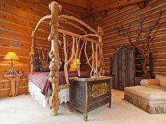 Log Cabin Home Living bedroom