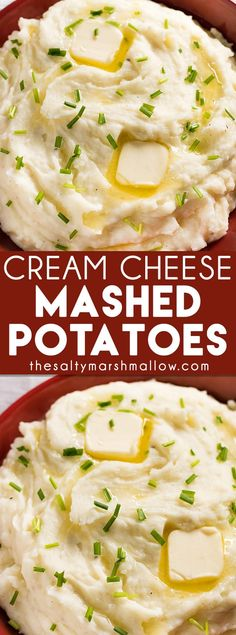Cream Cheese Mashed Potatoes: The best easy recipe for homemade garlic and cream cheese mashed potatoes! Use russet potatoes, butter, and cream cheese for the ultimate creamy mashed potatoes! Cream Cheese Mashed Potatoes Kenia Chirinos t Cream Cheese Mashed Potatoes, Mashed Potato Recipes, Creamy Mashed Potatoes, Potato Dishes, Food Dishes, Side Dishes, Russet Potatoes, Russet Potato Recipes, Ultimate Mashed Potatoes Recipe