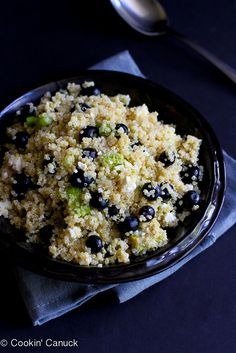 Quinoa, Blueberry  Avocado Salad Recipe...An easy way to take quinoa from boring to flavorful! | cookincanuck.com #vegetarian #MeatlessMonday