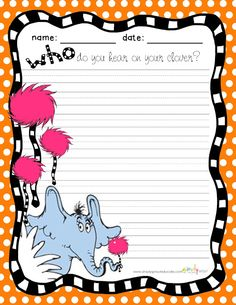 Celebrate Reading With Horton Hears a Who FREEBIE Writing activity