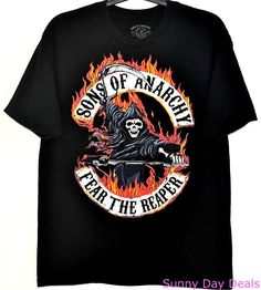 Sons of Anarchy Shirt Fear The Reaper Cotton Black Tee Short Sleeve T-Shirt XL  #SonsOfAnarchy #GraphicTee