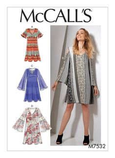 Easy Boho M7532 SEWING RATING: EASY Loose-fitting pullover dress has sleeve variations. B: Cold shoulder detail. C, D: Purchased trim.