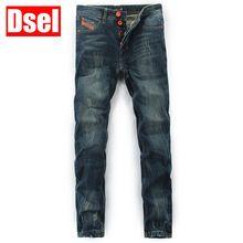 DSEL nova marca homens jeans reta jeans da moda algodão sólida cor selvagem dos homens de boa qualidade calças de brim calças casuais livre grátis alishoppbrasil