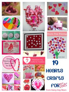 19 Fun Hearts Crafts for Tots to do this Valentines Day with this weeks Tuesday Tots linky with over 150 ideas linked up each week come and be inspired.