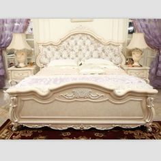 European Carved Furniture | European Classic White Furniture Hand Carved Wooden Bed Designs 066697 ...