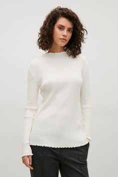 COS image 7 of Ribbed babylock top in Off white