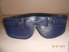 Купить Пояс кожаный №1 - тёмно-синий, однотонный, кожа, пояс ручной работы
