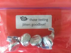 "Testing treats for CRCT week.  ""Kiss those testing jitters away. """