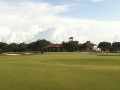 a view from 150 yards of the 18th hole at the Falcon's Fire Golf Course
