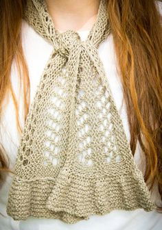 Knitting Pattern for Quick Ruffled Lace Scarf -The Summertime Scarfette is knit lengthwise with alternating blocks of garter and lace stitching with stitches picked up to create the ruffles.
