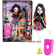 Mattel Year 2012 Monster High Scaris City of Frights Deluxe Series 11 Inch Doll Set - Skelita Calaveras with Suitcase, Hairbrush and Doll Stand