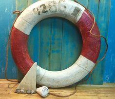 Vintage Life Preserver Ring Float Buoy Red White by CastawaysHall