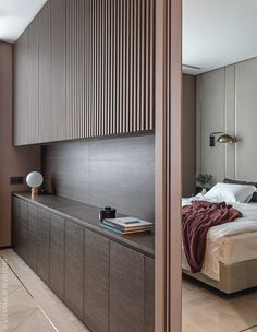 Pomegranate Apartment by ARCH(E)TYPE. Panelled room divider in this contemporary bedroom Modern Bedroom Design, Contemporary Bedroom, Modern Interior, Interior Design, Bedroom Designs, Lobby Interior, Modern Decor, Modern Rustic, Modern Contemporary