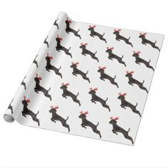 Christmas Black Toy Poodle Dog Reindeer Antlers Wrapping Paper
