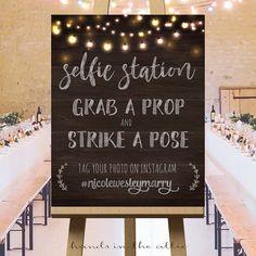 Wedding photos instagram wedding hashtag sign by HandsInTheAttic