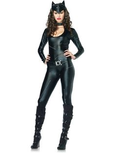 Sexy Feline Femme Fatale Cat Catsuit Costume | Cheap Cat Suits Costumes for Adults