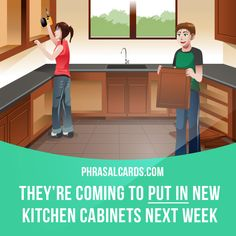 """""""Put in"""" means """"to install something"""". Example: They're coming to put in new kitchen cabinets next week. #phrasalverb #phrasalverbs #phrasal #verb #verbs #phrase #phrases #expression #expressions #english #englishlanguage #learnenglish #studyenglish #language #vocabulary #dictionary #grammar #efl #esl #tesl #tefl #toefl #ielts #toeic #englishlearning"""