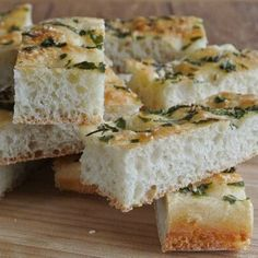 Herbed Focaccia has a wonderful chewy texture, is aromatic and satisfying. A staple in many restaurants. Great to dunk too.