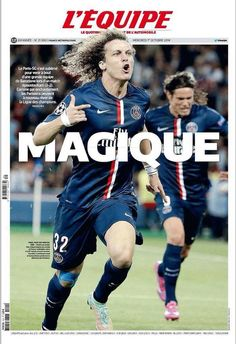 Paris SG 3 Barcelona 2 in Sept 2014 at Parc des Princes. Newspaper report from L 'Equipe in France for the Champions League Group F clash. Real Madrid, France National Football Team, Chelsea, Image Foot, Champions League, Fifa, Barcelona, Soccer, Baseball Cards