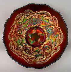 """HEART & VINE by FENTON ~ FIERY AMETHYST CARNIVAL GLASS ICE CREAM SHAPE 9"""" BOWL"""