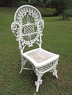 Rare and Ornate Antique Victorian Wicker Reception Chair Heywood  from dovetail on Ruby Lane