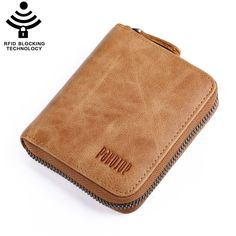 Mens Wallet RFID Blocking Technology Genuine Leather Zipper Credit Cards Money Holder -- Click image to review more details. (This is an Amazon Affiliate link and I receive a commission for the sales)