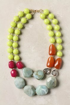 Drawing Room necklace. Bright, gem-tone facets and muted beads.