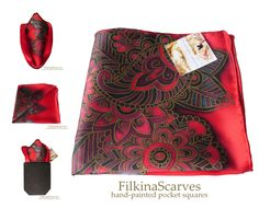@FilkinaScarves on Etsy #FilkinaScarves @NevenaFilkina    #MensHanky #PocketSquare #redhanky #roseshanky #silkhanky #mensgift #fathersgift weddinghanky #silkhandkerchief  Mens Silk Pocket Square RED Bordeaux Roses silk hanky Hand Painted Batik  This elegant hand-painted silk handkerchief is inspired by Bulgarian rose - a symbol of our country for centuries.The Hanky is uniquely designed with many elements and floral orname