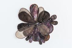 """Flora 4""  380mm x 380mm, framed in Tasmanian Oak Eco-dyed silk, organza, cotton, bamboo batting, thread, sequins, beads."