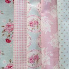 Pretty Tilda Fabric Bundle  PINK & AQUA  by PrettyFabricandTrims