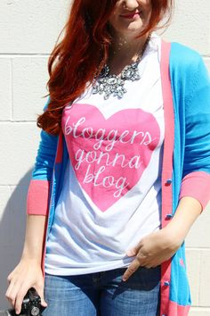FLASH SALE - Bloggers Gonna Blog / white and pink vneck shirt ($12) Perfect blogging essential!