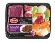 Tyson® Beef Roast Kit with vegetables allows the consumer to get a balanced, home cooked meal in one easy purchase. The kit includes a boneless beef chuck roast, precut fresh red potatoes, white onions, carrots and celery, and a ready to use seasoning blend.