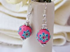 Rose Pink Floral Applique Beaded Earrings(Polymer Clay)