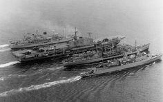 Five-ship RAS. (front to back): HMS Antrim, RFA Tidespring, HMS Hermes, RFA Resurgent, and possibly HMS Aurora (hidden portside of RFA Resurgent).
