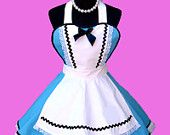 Apron - Women's Costume Apron Blue Dress Apron with Petticoat  MADE TO ORDER