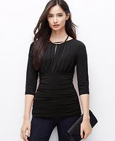 Ruched Keyhole Top - Reveal your flirty side with this flattering ruched style, finished with a keyhole neckline for irresistible allure. Shirred boatneck with keyhole. 3/4 sleeves. Shirred empire and side seams.