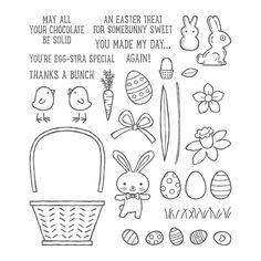 Basket Bunch Photopolymer Stamp Set from Stampin' Up Demonstrator Kathy Svejdar London Card Basket, Easter Messages, Clothes Basket, Thanks A Bunch, Card Sentiments, Easter Printables, Treat Holder, Easter Treats, Easter Baskets