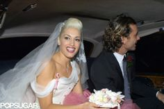 Gwen Stefani wore a white-and-pink gown for her London nuptials to Gavin Rossdale in September 2002.