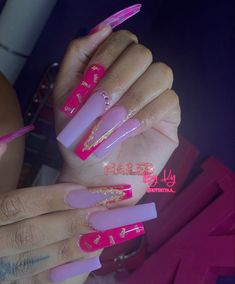 Acrylic Nails Coffin Pink, Long Square Acrylic Nails, Pink Nails, Drip Nails, Glow Nails, Edgy Nails, Swag Nails, Acylic Nails, Glamour Nails