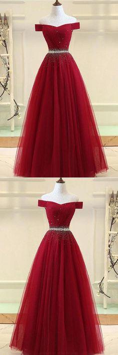 Prom Dresses 2019 #PromDresses2019, Prom Dresses A-Line #PromDressesALine, Burgundy Prom Dresses #BurgundyPromDresses