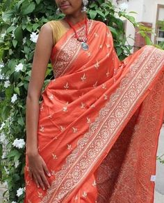 Dusky orange pure tussar silk saree with shantiniketan nakshi kantha work