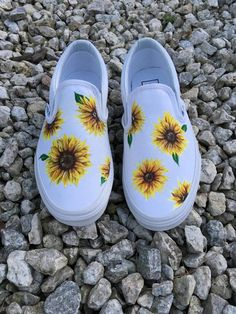 Custom Hand-painted Sunflower Vans Slip-On Shoes Individuelle handbemalte Sunflower Vans Slipper