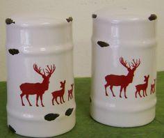 "Tin Enamelware Ceramics: Red Reindeer Salt and Pepper Set; 3"" high"